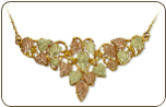Black Hills Gold Necklace with Large Multi-leaf Pendant (SKU: E357)
