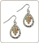 Black Hills Sterling Silver Teardrop Earrings with Leaves (SKU: ER1004SS)