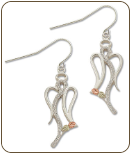 Sterling Silver Angel Earrings with Black Hills Gold Leaves (SKU: ER1049SS)