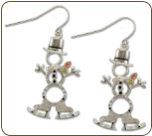 Sterling Silver Snowman Earrings with Skating Snowmen Black Hills Gold Leaves (SKU: ER1051SS)
