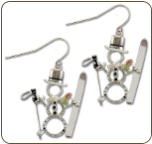 Sterling Silver Snowman Earrings with Skis with Black Hills Gold Leaves (SKU: ER1052SS)