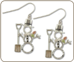 Sterling Silver Snowman Earrings with Snow Shovel and Black Hills Gold Leaves (SKU: ER1053SS)