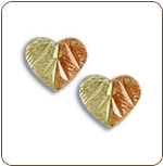 Black Hills Gold Split Leaf Heart Earrings, for pierced ears (SKU: ER1536)