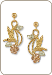 Black Hills Gold Hummingbird Earrings with Black Hills Gold Leaves (SKU: ER282PD)