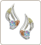 Sterling Black Hills Silver Opal Earrings (SKU: ER3249SS)