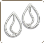 CC. Sterling Silver Diamond Earrings (SKU: ER5006XSS)