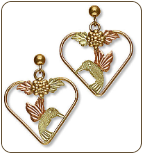Black Hills Gold Hummingbird Heart Earrings with Black Hills Gold Leaves (SKU: ER530)