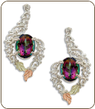 Mystic Fire Topaz Earrings, in Sterling Black Hills Silver (SKU: ER625PSS-471)