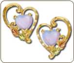 Black Hills Gold Heart Earrings with Opal (SKU: ER628P)