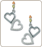 Sterling Silver Dangling Dual Heart Earrings (SKU: ER951PDSS)