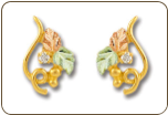Black Hills Gold Earrings with Leaves and Diamond for pierced ears (SKU: ER952)