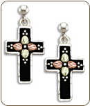 Black Hills Silver Black Enamel Cross Earrings with Leaves for Pierced Ears (SKU: ER958PDSS)