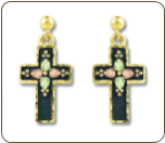 Black Hills Gold Black Enamel Cross Earrings with Leaves for Pierced Ears (SKU: ER958PD)