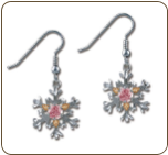 Sterling Silver Snowflake Earrings with Pink Cubic Zirconia (SKU: ER970SS-102)