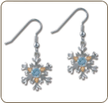 Sterling Silver Snowflake Earrings with Blue Cubic Zirconia (SKU: ER971SS-105)