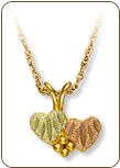 Black Hills Gold Heart Pendant with Double Hearts (SKU: F3146)