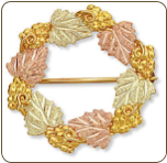 Black Hills Gold Circular Brooch Pin with Black Hills Gold Leaves and Grape Clusters (SKU: H402)