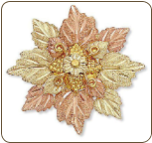 Black Hills Gold Brooch Pin with Leave Cluster (SKU: H412)
