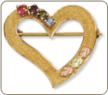 Black Hills Gold Heart Brooch Pin with Birthstones (SKU: H419)