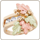 Ladies Black Hills Gold Diamond Ring with Black Hills Gold leaves (SKU: LR1040)