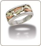 L1. Ladies Sterling Silver Band with European Shank and Black Hills Gold Leaves (SKU: LR1042SS)