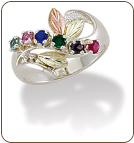 Black Hills Silver Mothers Ring with Birthstones (SKU: LR2830BSS)