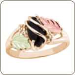 Black Hills Gold Ladies Onyx Ring with Leaves (SKU: LR2874)