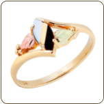Black Hills Gold Ladies Onyx and Mother of Pearl Ring (SKU: LR2948-449)