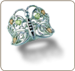 Sterling Silver Ladies Butterfly Ring with Black Hills Gold Leaves (SKU: LR3000SS)