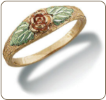 Black Hills Gold Mom or Daughters Ring with Rose and Leaves (SKU: LR3022)