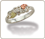 Sterling Silver Heart Ring with Diamond and Leaves (SKU: LR3026XSS)