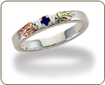 Black Hills Silver Mothers Ring with Birthstones, Stackable! (SKU: LR3029SS)