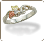 Sterling Silver Ladies Diamond Ring with Black Hills Gold Leaves (SKU: LR3030XSS)