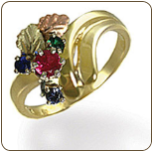 Black Hills Gold Mothers Ring with Birthstones (SKU: LR3034)
