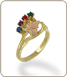 Black Hills Gold Mothers Ring with Birthstones (SKU: LR3036)