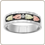 G1. Ladies Sterling Silver Wedding Band with Black Hills Gold Leaves and Antiquing (SKU: LR3037SS)