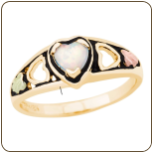 Black Hills Gold Ladies Heart Ring with Opal (SKU: LR3046)