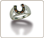 Ladies Black Hills Silver Horseshoe Ring (SKU: LR511SS)