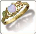 Black Hills Gold Ladies Heart Ring with Opal (SKU: LR628)