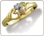 Black Hills Gold Heart Ring with Black Hills Gold Leaves and Diamond (SKU: LR772X)