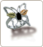Sterling Silver Ladies Butterfly Ring with Black Hills Gold Leaves (SKU: LR988SS)