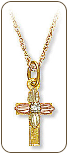 Black Hills Gold Cross Pendant with Diamond (SKU: M611-18X)