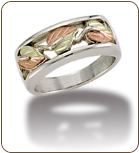 L2. Mens Sterling Silver Band with European Shank and Black Hills Gold Leaves (SKU: MR1042SS)
