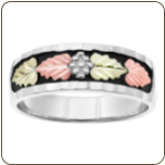 G2. Men's Sterling Silver Wedding Band with Black Hills Gold Leaves and Antiquing (SKU: MR3037SS)