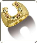 Mens Black Hills Gold Horseshoe Ring (SKU: MR511)