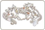 Sterling Silver Horse Cuff Bracelet with Black Hills Gold Leaves (SKU: BR1916CSS)
