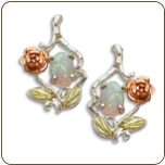 Sterling Black Hills Silver Opal Earrings with Gold Rose (SKU: ER603PSS)
