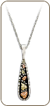Sterling Silver Pendant with Black Hills Gold Leaves and Antiquing (SKU: PE1708SS)