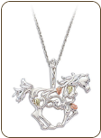 Sterling Silver Horse Pendant with Black Hills Gold Leaves (SKU: PE1916SS)