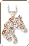 Sterling Silver Horse Pendant with Black Hills Gold Leaves (SKU: PE626SS)